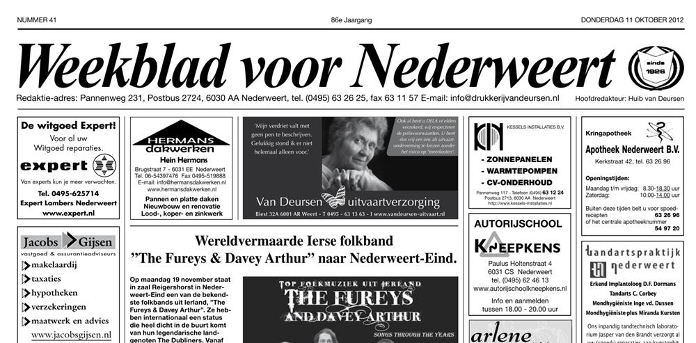Weekblad voor Nederweert van 11-10-2012