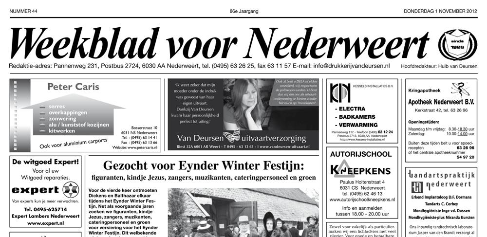 Weekblad voor Nederweert van 01-11-2012