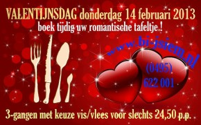 Romantisch tafeltje tijdens Valentijsdag Bi-j Siem