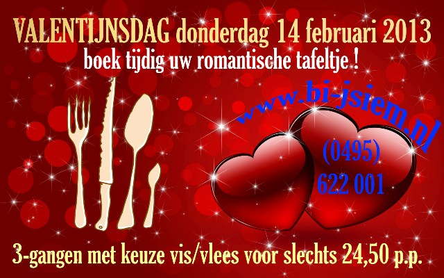 Romantisch, tafeltje, Valentijsdag, Bi-j Siem