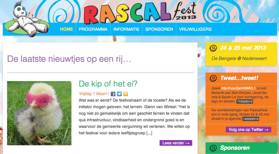 Website van Rascal Fest Nederweert online