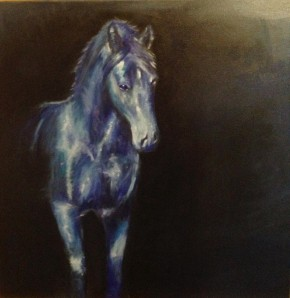 Het schilderij van Eefje heet Paard, het is 50 x 50 olieverf op doek.