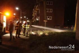 Bosjes in brand bij flatgebouw