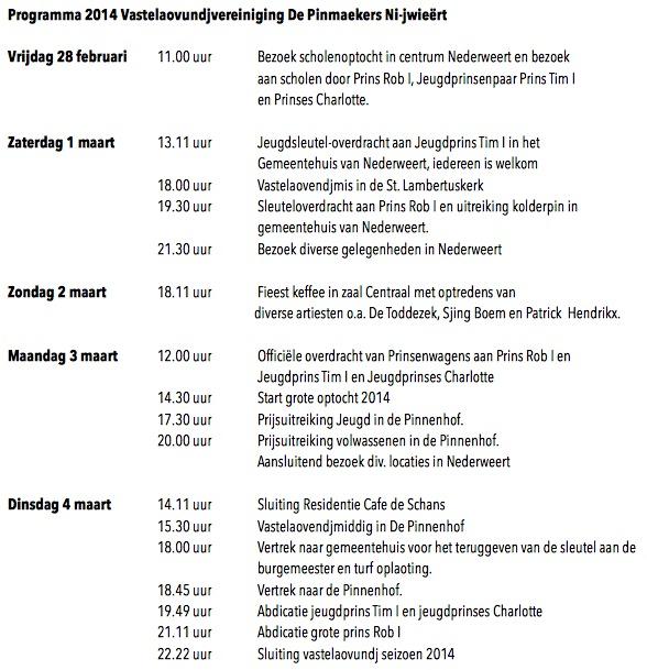 Programma 2014 VV de Pinmaekers