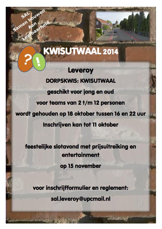 Poster Kwisutwaal 2014 Leveroy