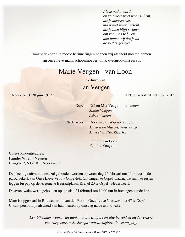 Overlijdensbericht Marie Veugen - van Loon