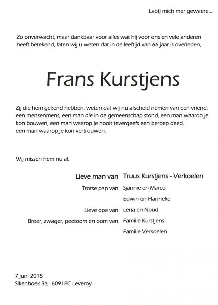Frans Kurstjens rouwadvertentie 11