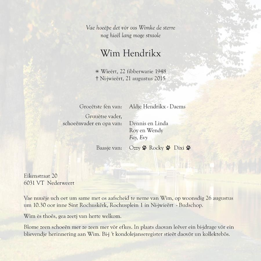 Wim Hendrikx familiebericht