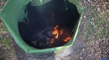 Brandweer blust prullenbakbrand bij dagcamping de Houtsberg
