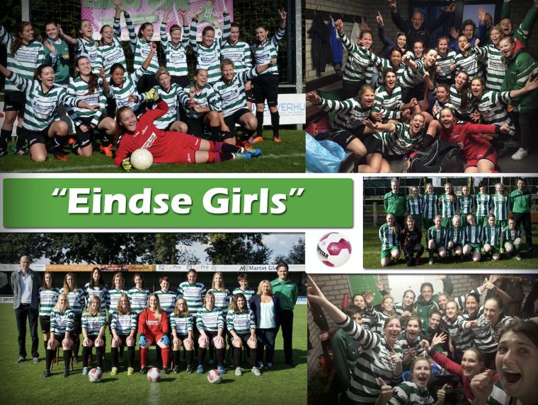 10 jaar dames en meisjesvoetbal bij Eindse Boys