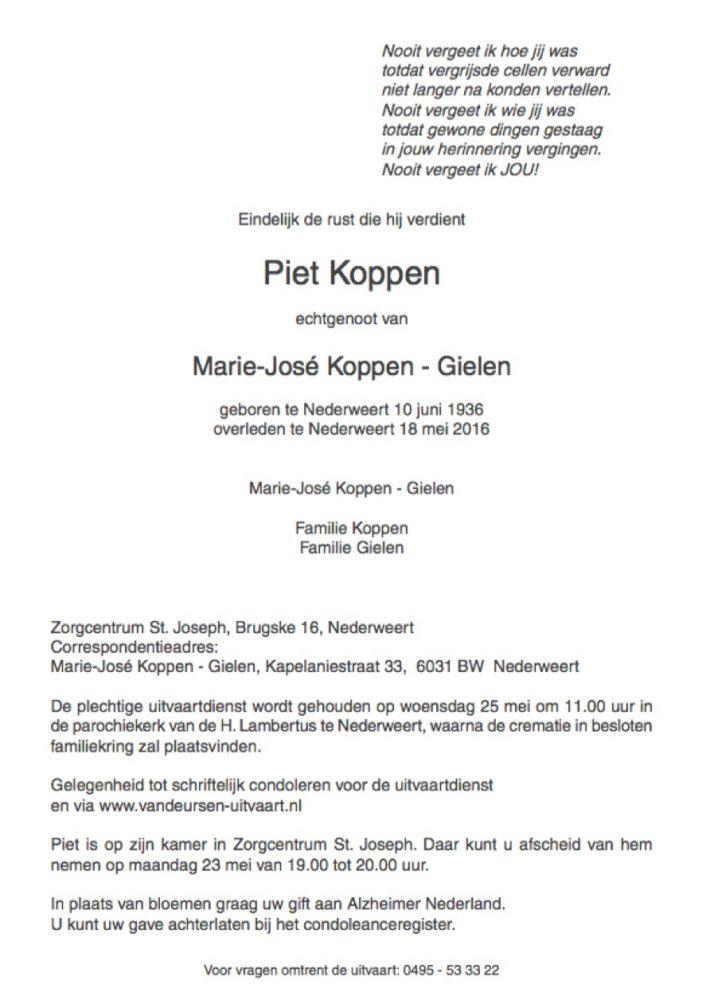 Overlijdensbericht Piet Koppen 1