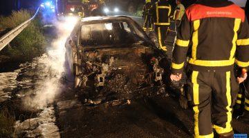 Autobrand op A2 na aanrijding dier