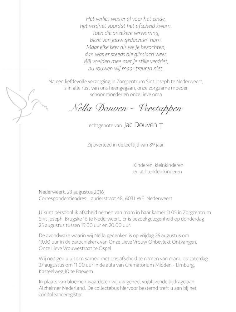 Overlijdensbericht Nella Douven - Verstappen