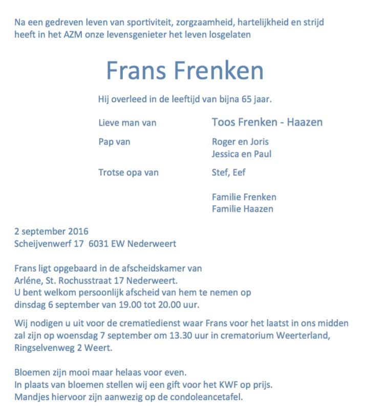Rouwadvertentie Frans Frenken 3
