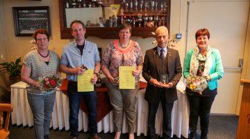 Jubilarissen tijdens viering 50 jaar EHBO Leveroy