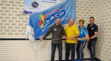 """Samenwerking LACO Sportcentrum Nederweert"" onthult mooi spandoek"