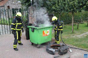 Smeulbrandje in container bij Eynderhoof