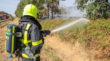 Flinke bermbrand naast A2 bij Hunsel