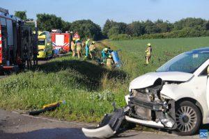 Ongeval Boerderijweg Heibloem, auto in sloot