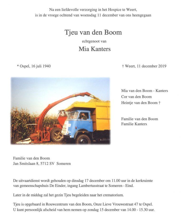 Rouwadvertentie Tjeu van den Boom