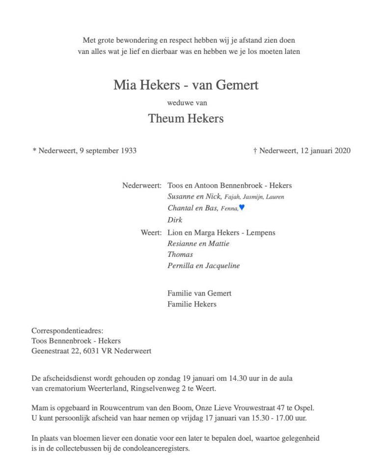 Rouwadvertentie Mia Hekers - van Gemert