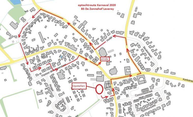 Route Kinjeroptocht Leivere 2020