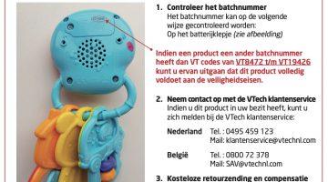 Veiligheidswaarschuwing Baby's sleutelbos VTech
