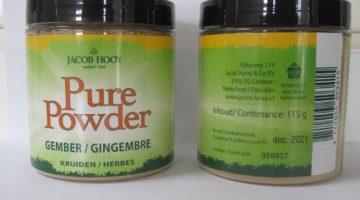 Veiligheidswaarschuwing Jacob Hooy Pure Powder Gember 115 gram en Jacob Hooy Gember gemalen