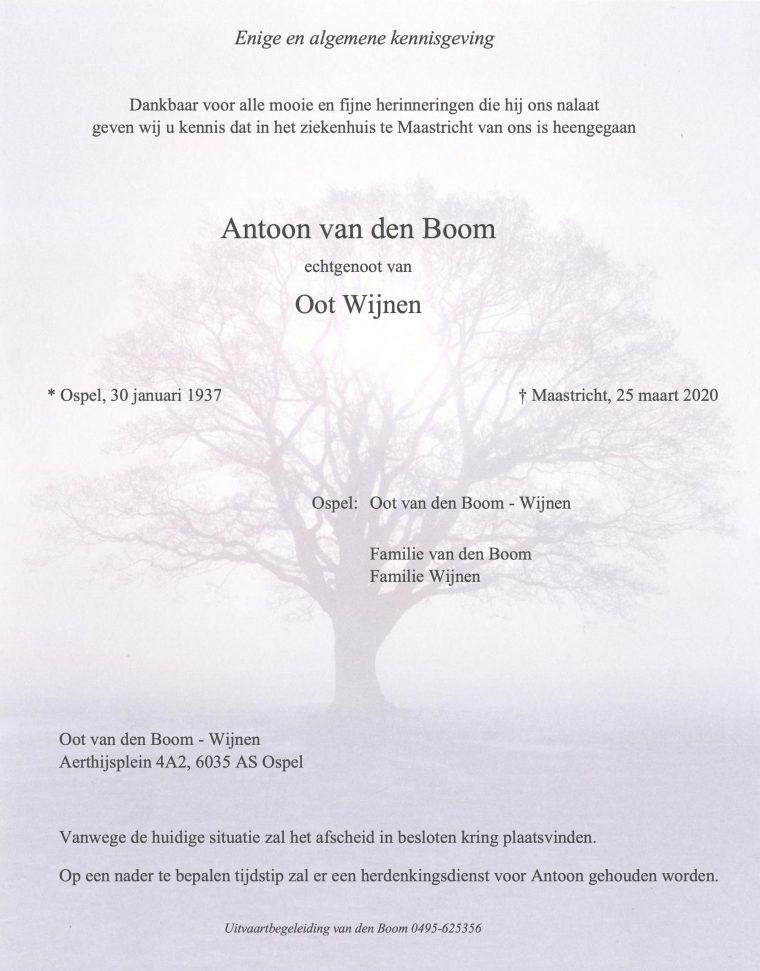 Rouwadvertentie Antoon van den Boom