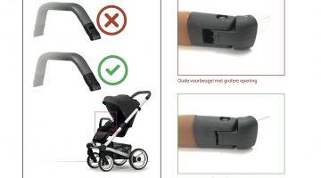 Veiligheidswaarschuwing voorbeugel kinderwagen Mutsy Nio